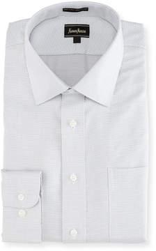 Neiman Marcus Classic Dobby-Check Dress Shirt, Gray