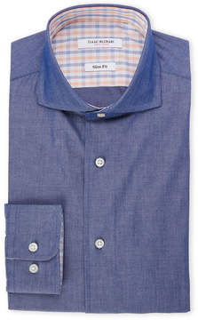 Isaac Mizrahi Navy Slim Fit Chambray Dress Shirt