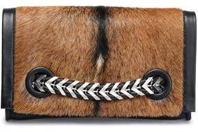 Roberto Cavalli Chain-Trimmed Goat Hair And Leather Clutch