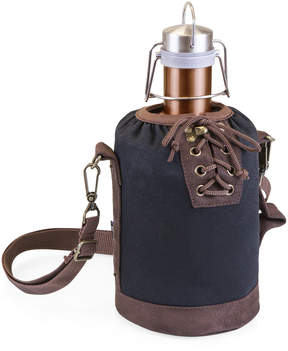 Picnic Time Brown & Black Insulated Growler Tote & Copper Steel Growler