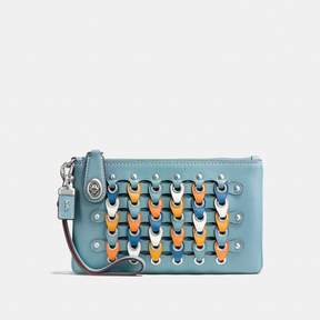 COACH Coach New YorkCoach Turnlock Wristlet 21 With Colorblock Link - LIGHT ANTIQUE NICKEL/STEEL BLUE MULTI - STYLE