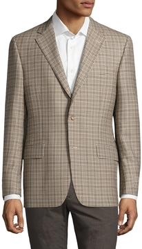 Hickey Freeman Men's Wool Checkered Notch Lapel Sportcoat
