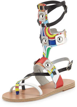 Ancient Greek Sandals Printed Leather Gladiator Sandals, Multicolor