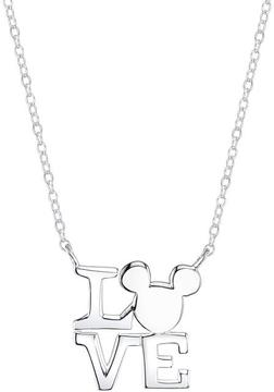 Disney Sterling Silver Mickey Mouse Love Necklace with 18-inch Cable Chain