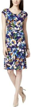Tommy Hilfiger Women's Cowl Neck Ruched Floral Dress