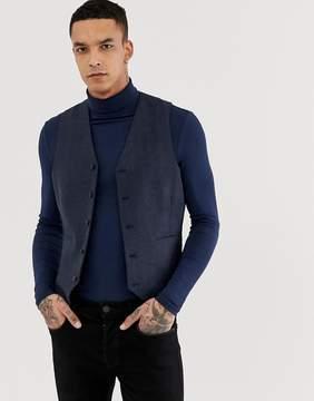 Asos Skinny Suit Vest in Navy Herringbone