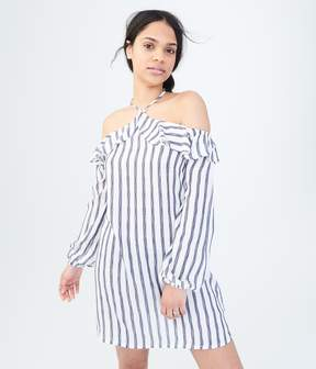 Aeropostale Long Sleeve Striped Halter Shift Dress