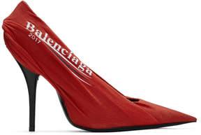 Balenciaga Red Campaign Logo Knife Heels