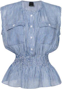 Pinko striped smocked waist blouse
