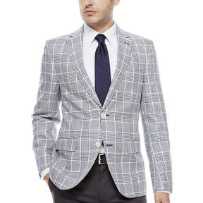 Co THE SAVILE ROW The Savile Row Company Navy White Plaid Sport Coat-Slim Fit