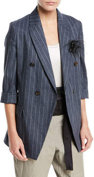 Brunello Cucinelli Linen-Blend Pinstripe Double-Breasted Blazer
