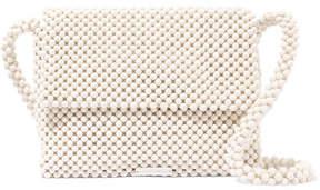 Loeffler Randall Roz Beaded Satin Shoulder Bag - White