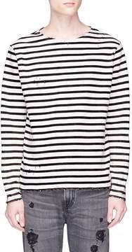 R 13 Distressed stripe long sleeve T-shirt