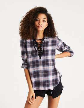 American Eagle Outfitters AE Lace-Up Flannel Pullover Shirt