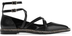 Lanvin Chain-embellished Leather Point-toe Flats - Black