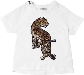 Dolce & Gabbana Leopard Patch Cotton Jersey T-Shirt