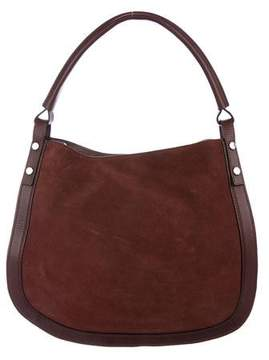 Louise et Cie Leather-Trimmed Suede Hobo