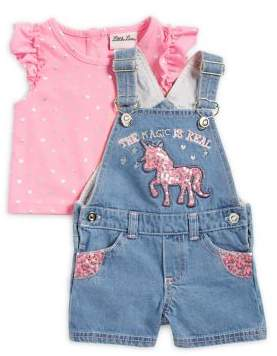 Little Lass Baby Girl's Two-Piece Heart Top and Denim Shortall Set