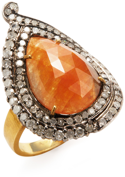 Artisan Women's 18K Yellow Gold, Silver, Peach Sapphire & 1.00 Total Ct. Diamond Paisley Ring
