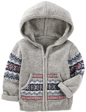 Osh Kosh Baby Boy Fairisle Hooded Zip Cardigan Sweater