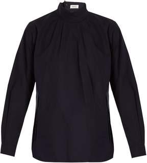Chimala High-neck cotton-poplin shirt