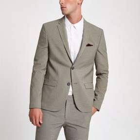 River Island Mens Ecru pupstooth super skinny fit suit jacket