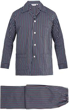 Derek Rose Royal striped cotton-poplin pyjama set