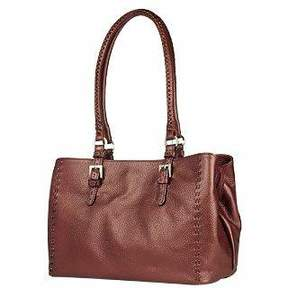 Fontanelli Metallic Burgundy Stitched Soft Leather Satchel Bag