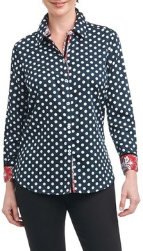 Foxcroft Women's Ava Dot Paisley Trim Shirt