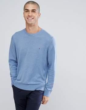 Tommy Hilfiger Flag Logo Knit Sweater Plaited Cotton Silk in Blue