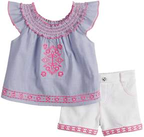 Little Lass Baby Girl Embroidered Peasant Top & Shorts Set