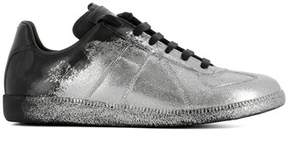 Maison Margiela Men's Silver Leather Sneakers.