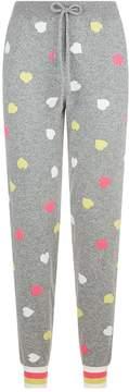 Chinti and Parker Striped Cuff Heart Sweatpants
