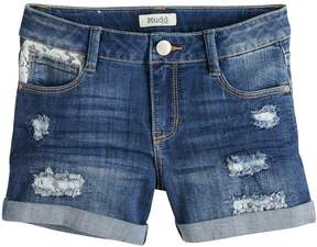 Mudd Girls 7-16 & Plus Size Distressed Lace Trim Rolled Cuff Denim Shorts