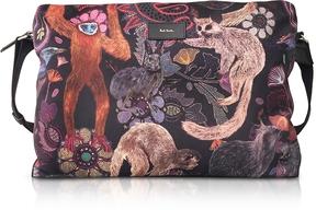 Paul Smith Black Canvas Monkey Print Messenger