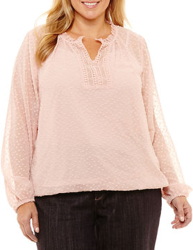 Liz Claiborne Clip Dot Peasant Blouse- Plus
