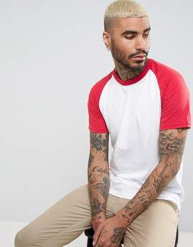 Pull&Bear Raglan T-Shirt In Red