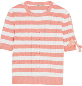 Fendi Lace-up Striped Pointelle-knit Top - Peach