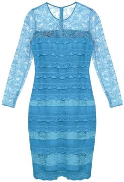 Burberry Long-sleeved tiered-lace dress