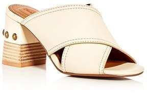See by Chloe Women's Leather Crisscross Block Heel Slide Sandals
