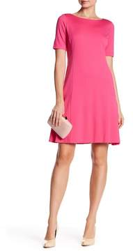 Ellen Tracy Elbow Sleeve Flounce Dress