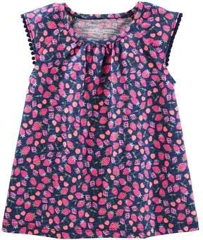 Osh Kosh Oshkosh Bgosh Girls 4-12 Flutter Sleeve Pom Pom Trim Tee