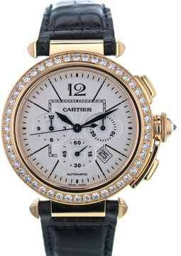 Cartier Pasha 2863 18K Rose Gold & Leather White Dial Automatic 42mm Men