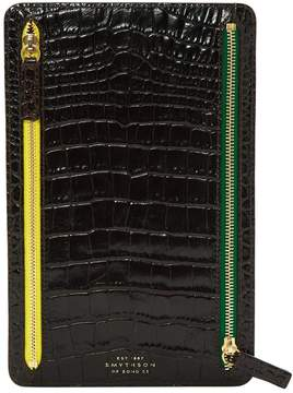 Smythson Black Leather Clutch Bag