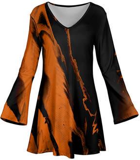 Azalea Orange & Black Swirl Flare-Sleeve Tunic - Women & Plus