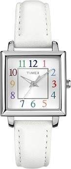 Timex Women's T2P377 Style Elevated White Leather Watch