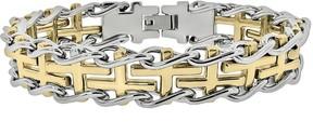 Lynx Stainless Steel Two Tone Sideways Cross Railroad Bracelet - Men