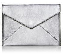 Rebecca Minkoff Leo Metallic Leather Clutch - GUNMETAL - STYLE