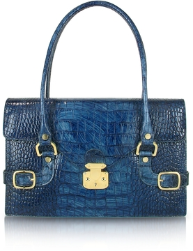 L.A.P.A. Indigo Blue Croco Stamped Italian Leather Shoulder Bag
