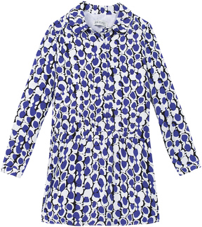 Jean Bourget Spread Collar Printed Dress